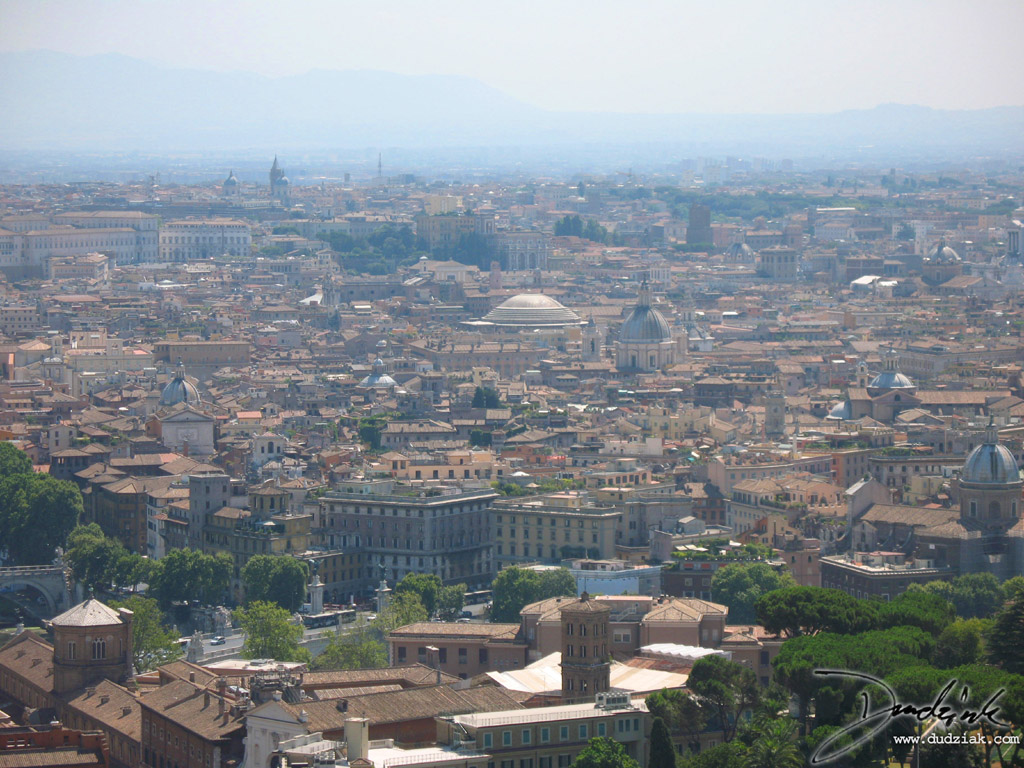 Picture of the city of Rome as seen from the balcony of Saint Peter's Basilica dome.  The top of the Roman Pantheon can be seen in the center.