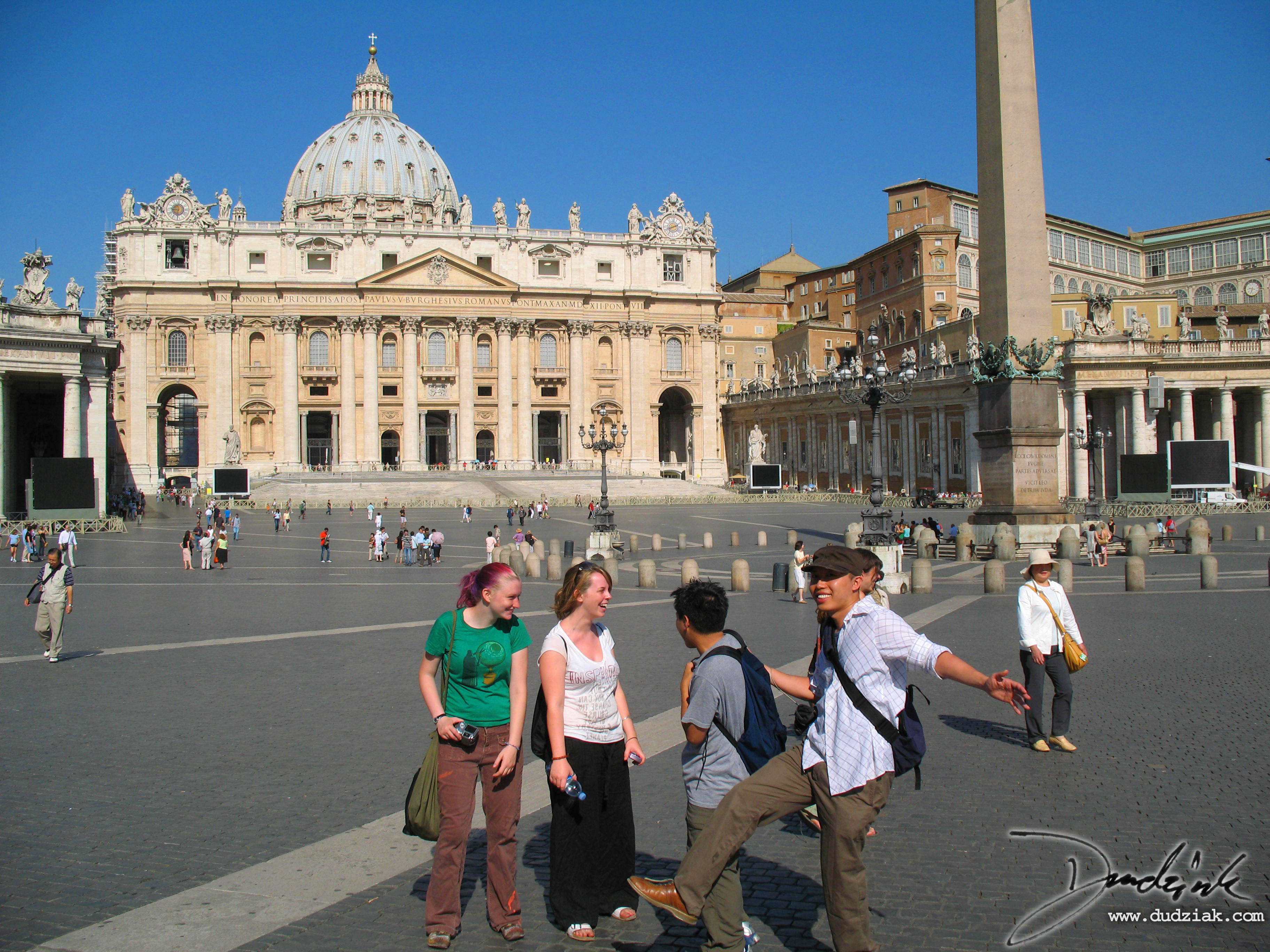 Saint Peter's Square (Piazza San Pietro) having fun.