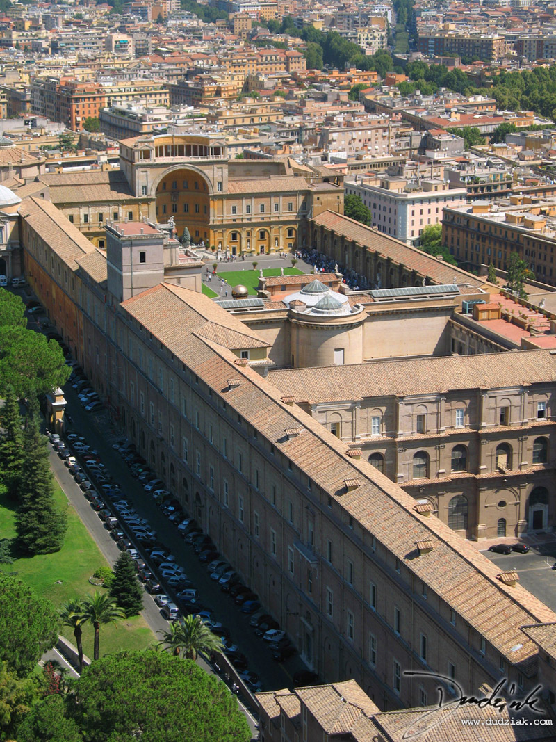 Vatican Museum courtyard as seen from the balcony of Saint Peter's Basilica dome.