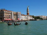 Gondoliers at the Southern Mouth of the Grand Canal as Seen from Campo de la Salute, Venice, Italy