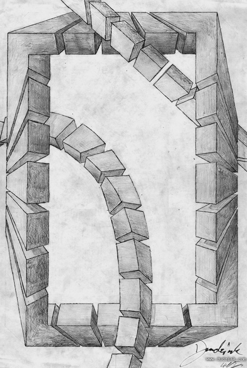 Pencil drawing of an impossible ring intersected by other objects.  Drawn on Architectural B paper.