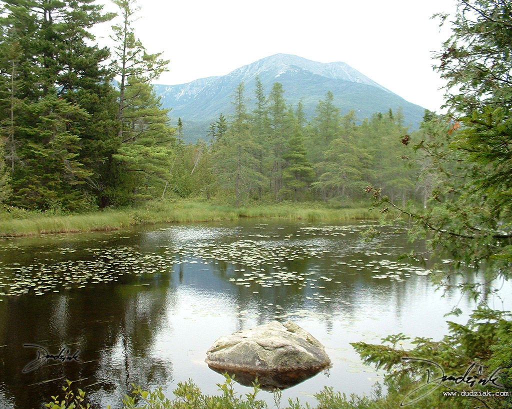 Picture of a pond with Mt. Katahdin in the background.