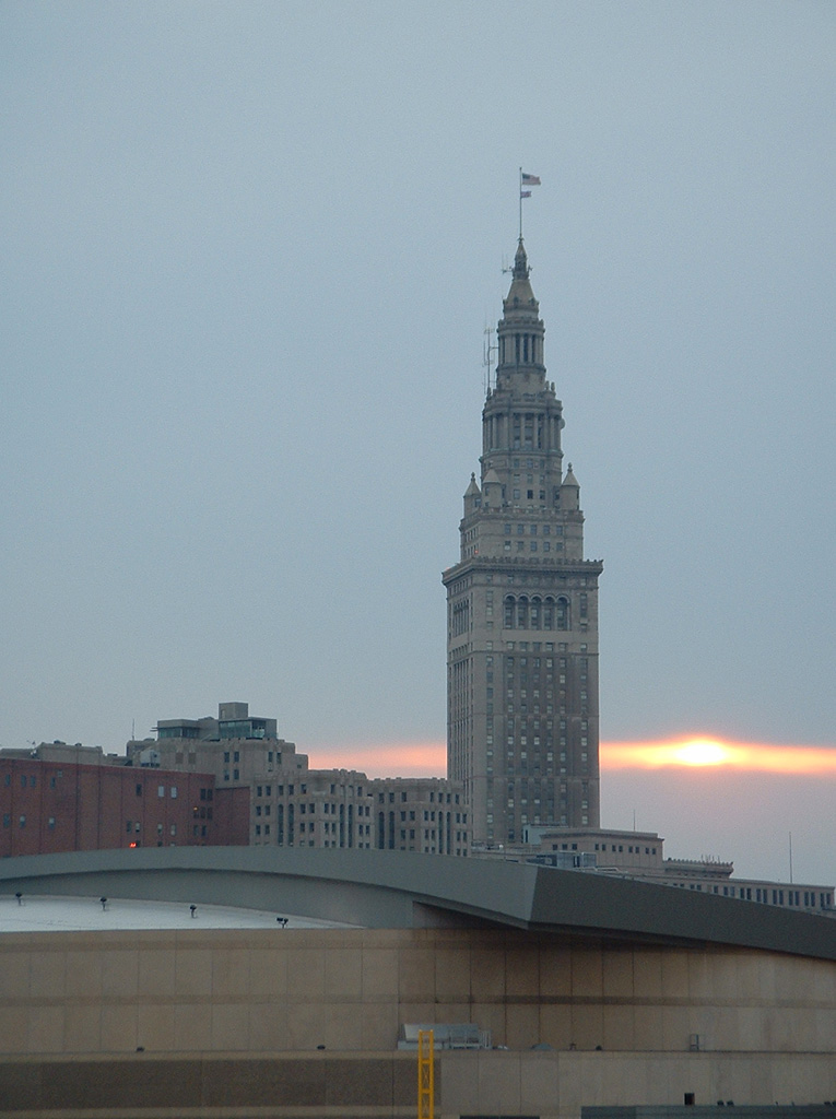 Picture of the Terminal Tower in Cleveland at Sunset.  Picture taken from the stands of Jacob's Field
